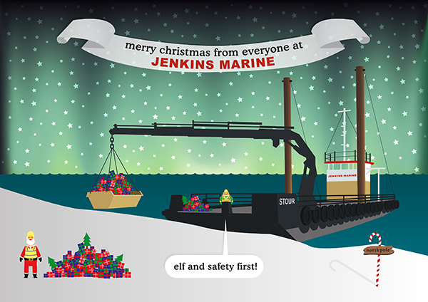 The 2013 Christmas card design for Jenkins Marine, complete with experimental Aurora Borealis effect!